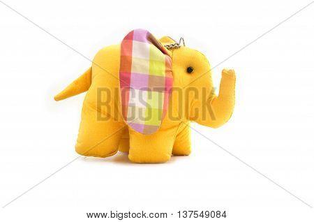 yellow silk elephant toy at Thailand on white