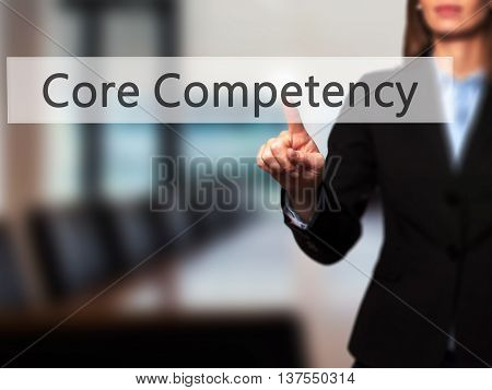 Core Competency - Successful Businesswoman Making Use Of Innovative Technologies And Finger Pressing