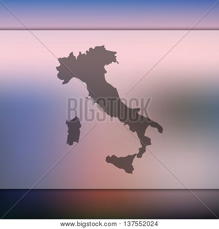 Italy map on blurred background. Blurred background with silhouette of Italy. Italy. Italy map.