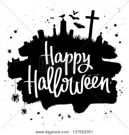 Happy Halloween. Trend calligraphy. Vector illustration on white background with a smear of black ink. Dracula's Castle the cemetery and bats. Excellent holiday card.