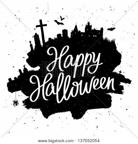 Happy Halloween. The trend calligraphy. Vector illustration on white background with a smear of black ink. Dracula's Castle the cemetery and bats. Excellent holiday card.