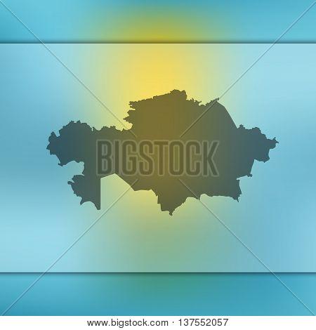 Kazakhstan map on blurred background. Blurred background with silhouette of Kazakhstan. Kazakhstan. Kazakhstan map.