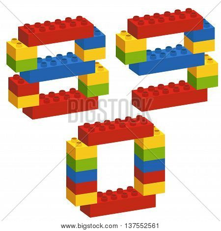 set of numbers from constructor from 8 to 9- vector illustration, eps