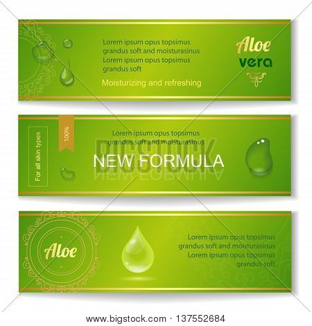 Aloe vera horizontal banners set with drops elements on green fresh background vector