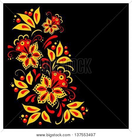 Traditional Russian vector pattern frame with place for text in khokhloma style. Can be used for banner card poster invitation label menu page decoration or web design