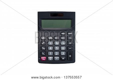 Top view of a black calculator isolated on white background