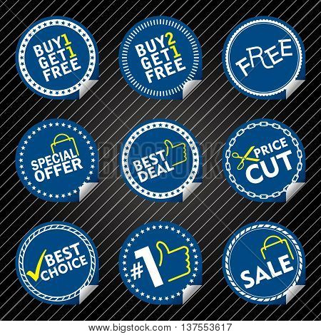 Blue Sale Stickers with tab, different border style