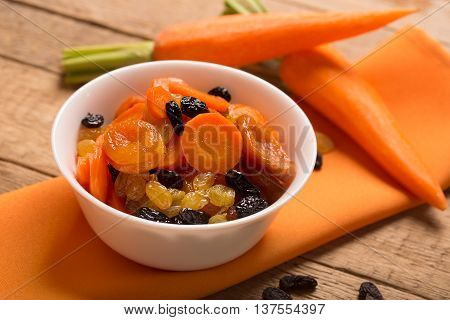 Traditional Jewish Tzimmes dish prepared with carrot and dried fruits
