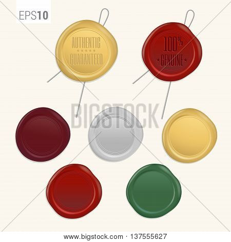 Set of retro security wax seal with wire in various colors