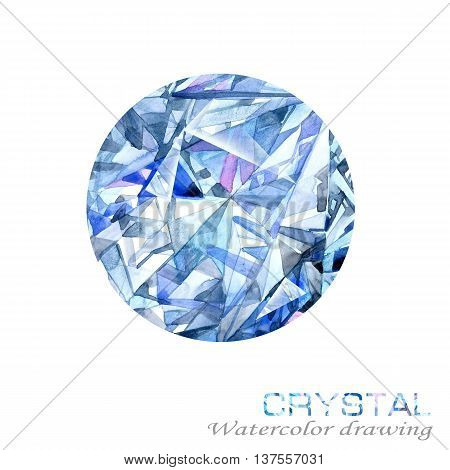 Crystal.  jewelry Crystal background. Watercolor Crystal drawing. jewelry background