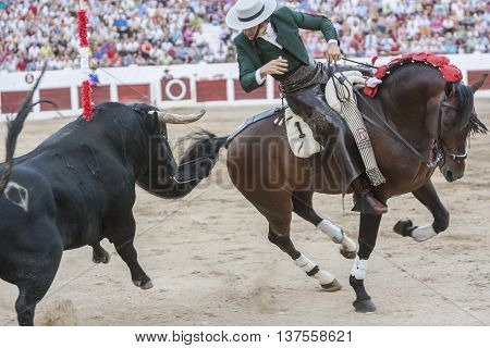 Linares SPAIN - August 31 2011: Diego Ventura bullfighter on horseback spanish Linares Jaen Spain