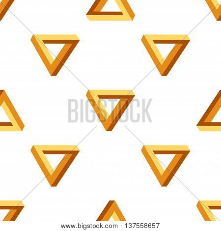 Vector Seamless Triangles Pattern. Impossible Orange Triangle Background