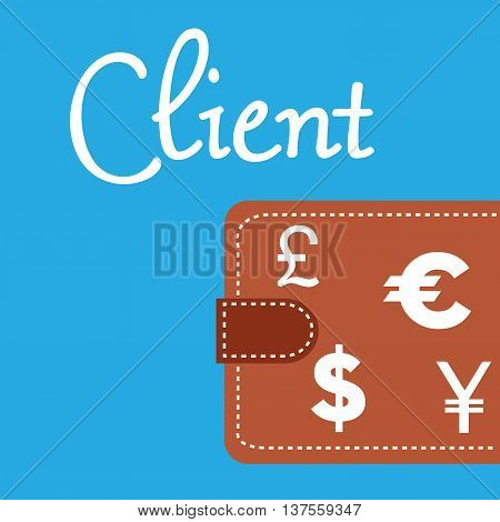 Brown wallet isolated on a blue background and the word client written with handwritten letters