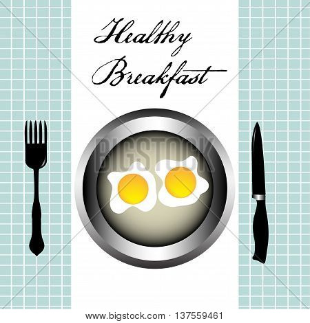 Colorful background with fork, knife and two eggs on a plate. Healthy breakfast concept