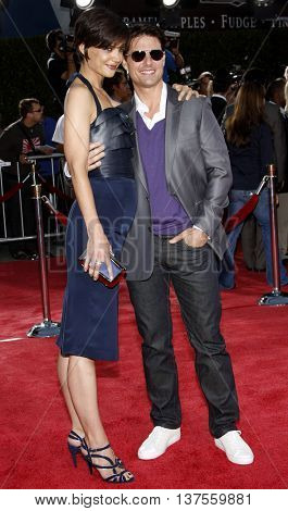 Katie Holmes and Tom Cruise at the Los Angeles premiere of 'Tropic Thunder' held at the Mann Village Theater in Westwood, USA on August 11, 2008.