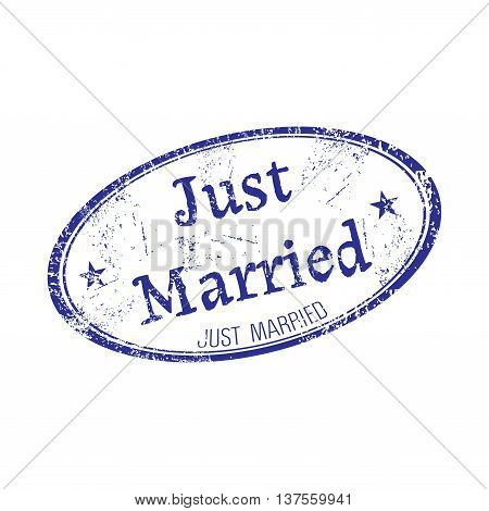 Oval grunge rubber stamp with the text just married written inside the stamp