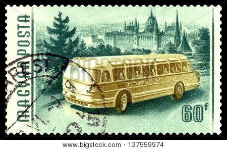 STAVROPOL RUSSIA - MARCH 16 2016:: A stamp printed in Hungary shows image of a Bus circa 1955