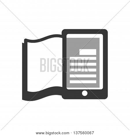 Reading and learning online concept represented by ebook and smartphone icon. isolated and flat illustration