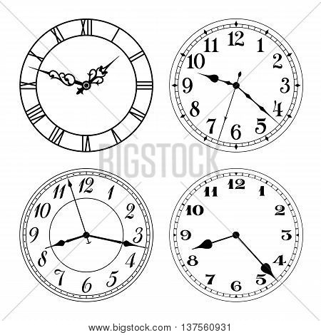 Vector clock faces in black and white. Arabic and roman numerals. Round shape. Easily replace hands and design.