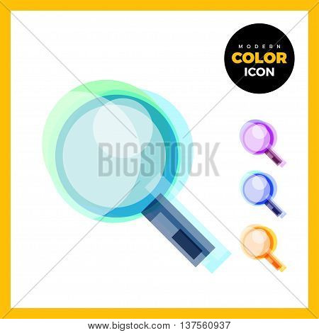 Magnifier Modern Color Icon for web app. New concept design house symbol. Loupe Logo sign isolated on white. Vector illustration in creative style.