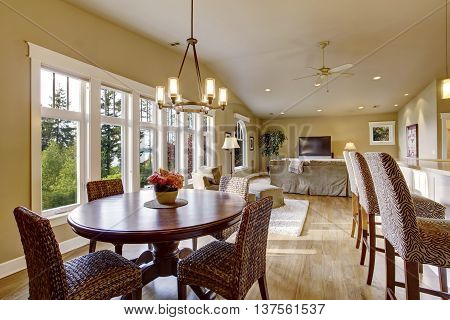 Open Plan Interior With Lots Of Space. View Of Dining Room And Living Room.