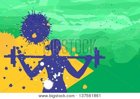 Young woman training with pump on the brazil flag colors background fithess motivation concept vector illustration