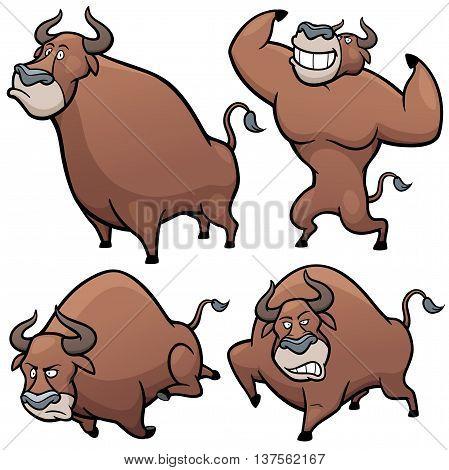 Vector illustration of Cartoon Bull Character Set