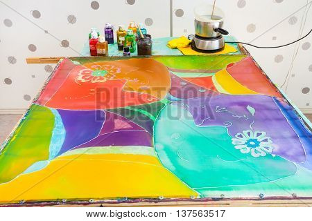 Silk Canvas With Third Layer Of Paints And Wax