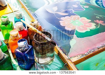 Paints, Brush And Painted Silk Hot Batik
