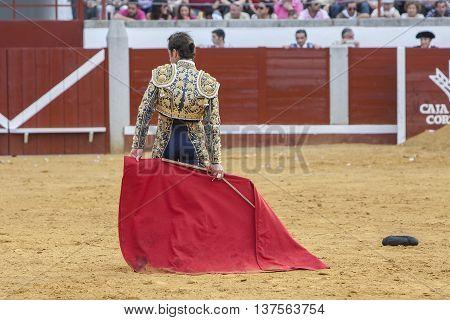 Pozoblanco Spain - September 23 2011: The Spanish Bullfighter David Fandila El Fandi bullfighting with the crutch in the Bullring of Pozoblanco Spain