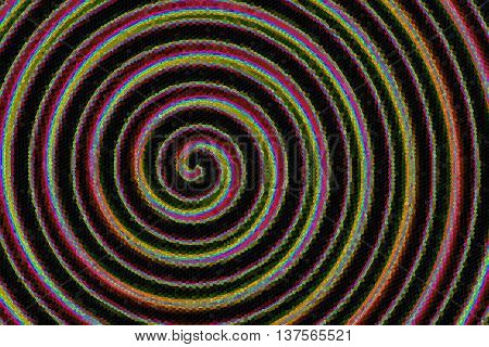 Illustration of a rainbow colored mosaic spiral