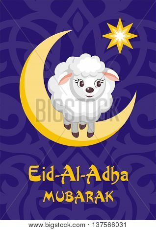 Eid al-Adha greeting card with the image of the sacrificial lamb and Crescent, vector