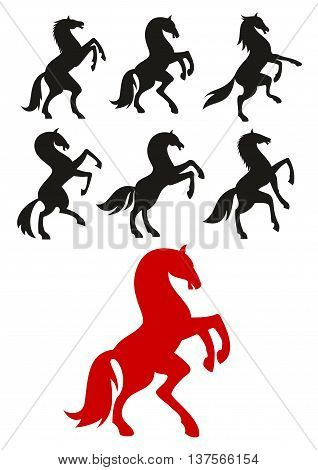 Red and black silhouettes of rearing up and prancing horses. May be use as equestrian club badge or heraldic crest design