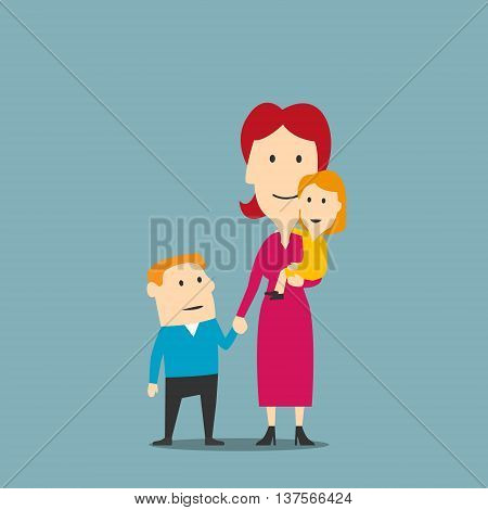 Happy family of mother and two kids. Smiling cartoon woman in elegant pink dress standing with little daughter and older son. Great for mother day concept or parenting theme design