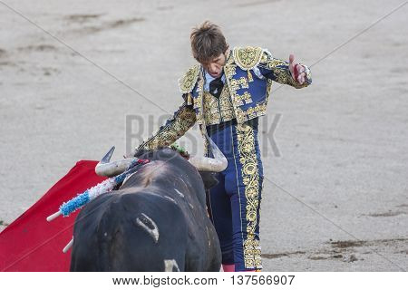 Linares SPAIN - August 28 2014: The Spanish Bullfighter Juan Jose Padilla bullfighting with the crutch in the Bullring of Linares Spain