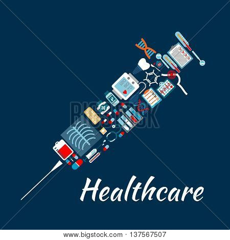 Medical examination and laboratory analysis flat icons creating a symbol of syringe with check-up forms and medicines, test tubes, blood bag, stethoscope and thermometer, tooth implant and dentist mirrors, blood pressure and ecg monitor, DNA and molecule,