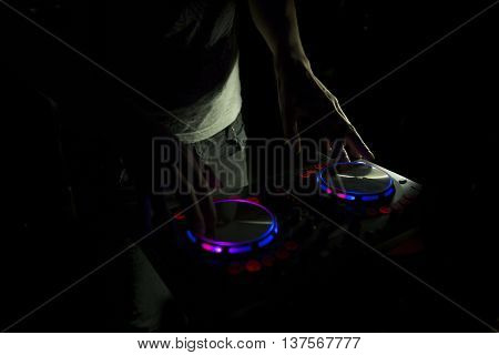 Dj Console Mixer Controlling With Two Hand