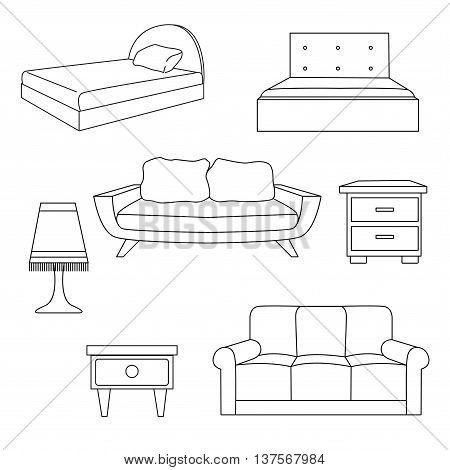 Sofa bed bedside table a lamp isolated on white background.