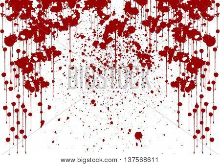 spray painted detail in red over white vector background