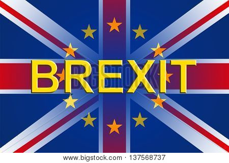 Brexit Flags Represents Britain National Decision And English