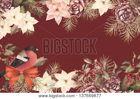 Christmas retro watercolor decorative frame composition. Bird bullfinch, poinsettia flowers with Rowan and Holly branch on a white background