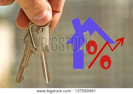 Red percent sign on the background of the apartment key . The concept of price changes on the real estate market .