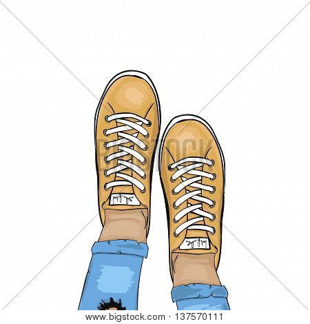 Summer trendy sports shoes. Feet in sports shoes sneakers. Girl in ripped jeans and sneakers. Vector illustration