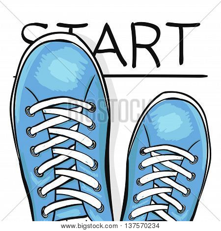 Summer trendy sports shoes. Feet in athletic shoes sneakers begin to move forward. The business concept. Vector illustration