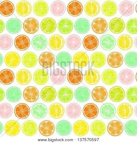 Seamless pattern with lemon orange and grapefruit on white background. Hand-drawn citrus. Stylized graphics.