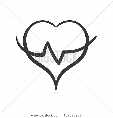 Healthy lifestyle concept represented by Cardio heart  icon. isolated and flat illustration
