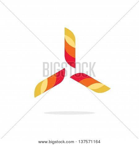 Abstract propeller vector logo sign, concept of wind turbine power energy emblem, heating and conditioning system symbol, aircraft engine icon label modern design isolated on white background