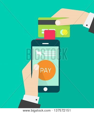 Mobile payment processing vector illustration, flat hand with mobile phone processing credit card payment