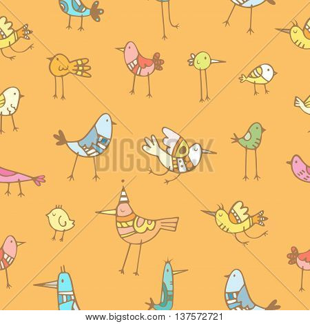Seamless pattern with cute cartoon colorful birds on orange background. Vector contour image. Doodle style.