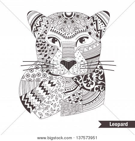 Leopard. Coloring book for adult, antistress coloring pages. Hand drawn vector isolated illustration on white background. Henna mehendi, tattoo sketch